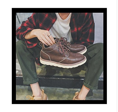 Hl-pyl-british Men Casual Chaussures Chaussures En Cuir Épais Avec Des Semelles En Cuir Martin. Brun Foncé