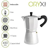 ORYX Espressokocher Induktion 9Tassen, Aluminium, silber, 18x 25x 14cm