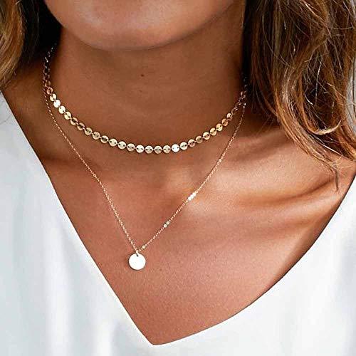 - Layer Halskette mit Paillettenanhänger für Frauen und Mädchen ()