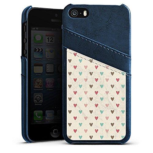Apple iPhone 4 Housse Étui Silicone Coque Protection C½ur Motif rétro Amour Étui en cuir bleu marine