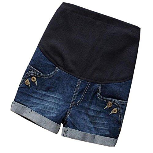 Hzjundasi Frauen Mutterschaft Denim Soft Shorts Einstellbar über Stoß Lässige Jeans Taste Hosen Jean-tasten