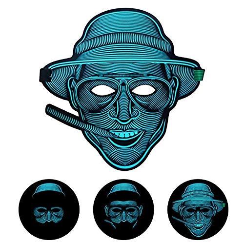 (EEIEER Voice Activated LED Maske, Horror Erwachsene Maske Tanz Rave Licht Einstellbare Maske Für Festival,Cosplay,Halloween,Kostüm,Batterie Angetrieben)