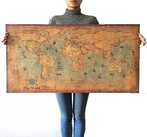 Nautische Ozean Sea Weltkarte Retro Alte Kunst Papier Malerei Wohnkultur Aufkleber Wohnzimmer Poster Cafe Antike Poster 71X36 cm (Nautische Dekoration Für Wohnzimmer)
