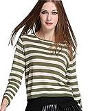 MissFox Damen Schlank Gestreiftes Strick Pullover Mit Eine Größe Grün