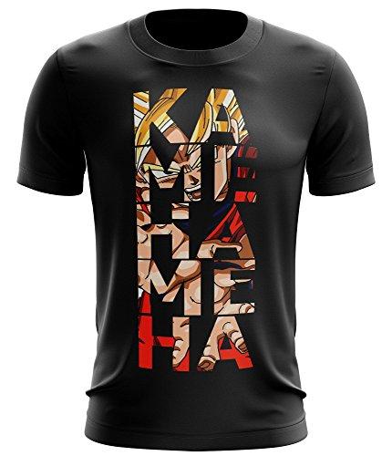 Stylotex Fitness T-Shirt Kamehameha Funktions-Stoff schnelltrocknend, Farbe:schwarz;Größe:L
