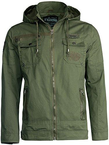 Leder Army Jacke (Trisens Herren ÜBERGANGSJACKE Military Style Kapuze Jacke Army Fliegerjacke, Größe:XL, Farbe:Army Grün)