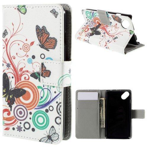 jbTec® Flip Case Handy-Hülle zu Wiko Sunset 2 / Sunny - Book Motiv - Handy-Tasche Schutz-Hülle Cover Handyhülle Ständer Bookstyle Booklet, Motiv/Muster:Schmetterlinge Weiß S02