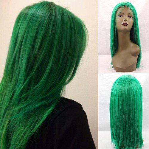 Blue Bird grün Medium Länge Wig Silk gerade aus Synthetik Lace Front klebefreien Perücken Hitzebeständig Cosplay Haar mit gratis, natürlicher Haaransatz