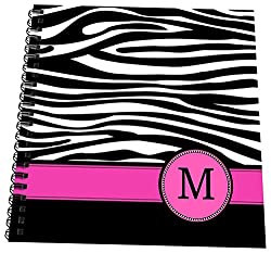 3dRose db_154284_3 Letter M Monogrammed Black And White Zebra Stripes Animal Print with Hot Pink Personalized Initial Mini Notepad, 4 x 4