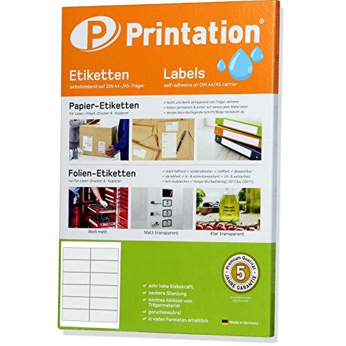 Etiketten 97 x 42,4 mm WETTERFEST transparent auf DIN A4 Bogen - 10 Blatt - 2 x 6 Stück/Seite 120 Folienetiketten 97x42,4 selbstklebend bedruckbar mit Laser Drucker