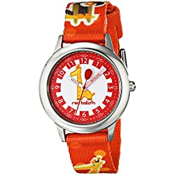 Red Balloon Kids Quartz Watch with White Dial Time Teacher Display and Red Nylon Strap W000189