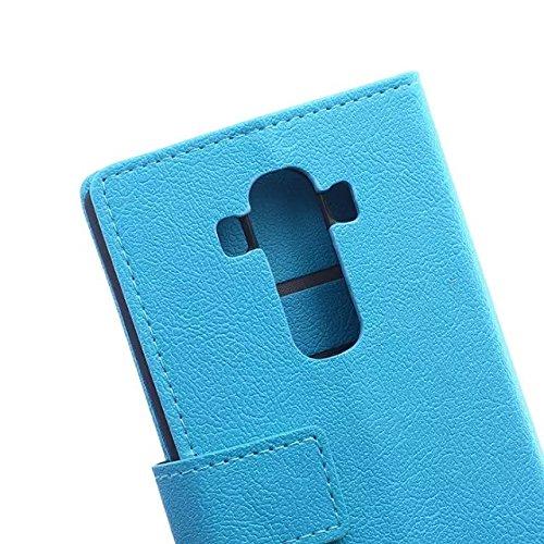 LG G4 Case, Einfarbig Kas Textur Muster Leder Schutzhülle Case Horizontal Flip Stand Hülle mit Kartensteckplätzen für LG G4 ( Color : Pink , Size : LG G4 ) Blue