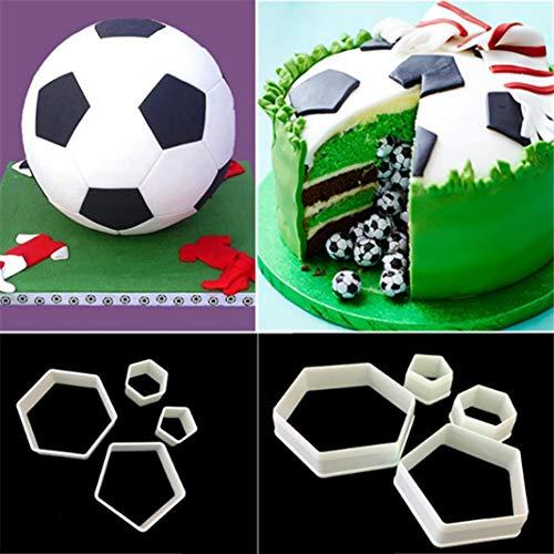 YanQxIzbiu Ausstechformen für Fondant, Fußball, Fondant, Kuchen, Dekoration, Zuckerguss, 4 Stück (Lego Silikon Molds Candy)