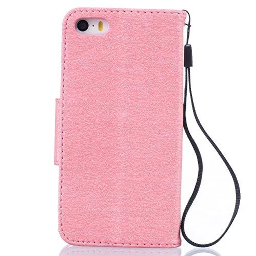 Custodia per iPhone 5, iPhone 5S, iPhone SE Custodia, con protezione per lo schermo in vetro temperato], fatcatparadise (TM) [Cavalletto] Elegante Vintage Pressed Feather Bird Pattern Design Retro Fli Pink