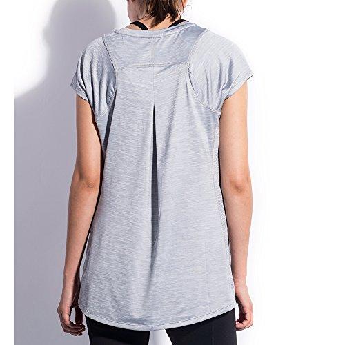 Sunny&Baby Top a manica corta da donna Camicia da uomo casual a maniche corte in tessuto ad asciugatura rapida Confortevole ( Color : Dark purple , Size : XL ) Light Gray