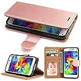 Galaxy S5 Hülle, SOWOKO Handy Schutzhülle für Samsung Galaxy S5/ S5 Neo Tasche Leder Wallet Flip Case Brieftasche Etui Schale mit Karte Halter, Rose Gold