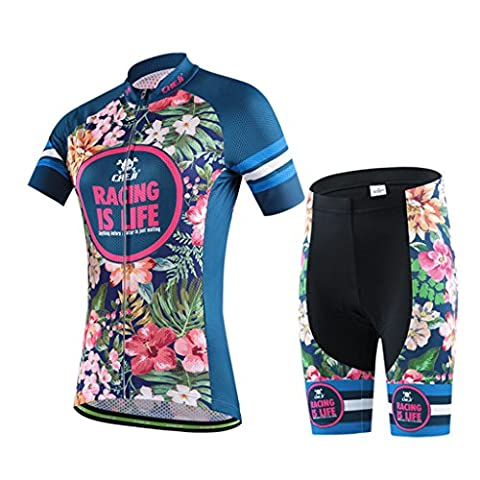 GWELL Women Cycling Jersey Suits Flowers Cycling Clothing Jersey Short