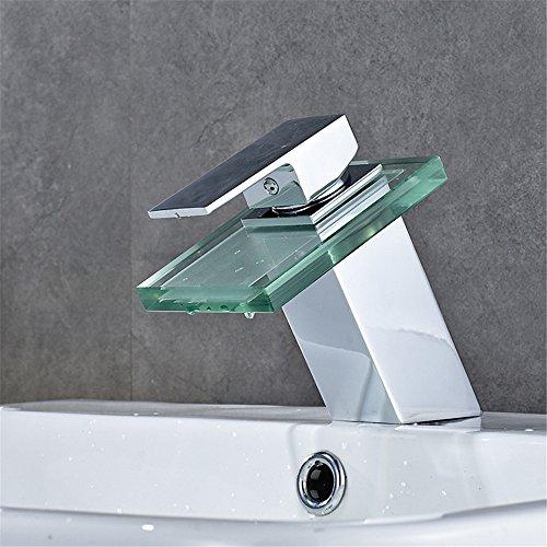 Modernes Glas Badezimmer Kabinett Wasserfall heiß und Kalt Wasser keramisches Ventil einzelnes Loch einzelner Griff Handbadezimmer Bassin Hahn -