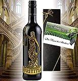 Justitia Rotwein-Geschenk Italien | Geschenkset Waage der Gerechtigkeit | aus dem Piemont| für Juristen, Richter, Anwalt, Recht & Jura | Luxus für die Kanzlei | Cabernet Sauvignon | Sternzeichen Waage September Oktober