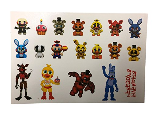 Five Nights at Freddy Tattoo Sheet FNAF Tattoos Party Bag Fillers Freddie Fazbear