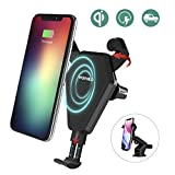 Caricatore Wireless Auto,Wofalo ricarica rapida Regolabile Wireless Auto Culla Supporto per Samsung Galaxy S8/ S8+/ S7/ S6 Edge+/ Note 5,Qi Charging Standard per iPhone X/8/8 Plus