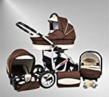 True Love Larmax Kinderwagen Winter-Set (Winterfußsack, Autositz & Adapter, Regenschutz, Moskitonetz, Schwenkräder) 42 Schokolade & Sahne
