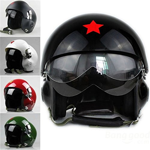 mark8shop Motorrad Roller Helm Air Force Jet Pilot Flight Double Lens Größe L (Helm Air Force)