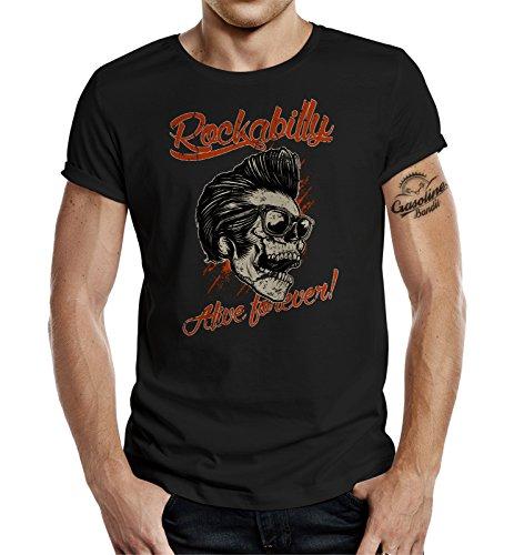 Original GASOLINE BANDIT® Design T-Shirt: Rockabilly alive forever Schwarz