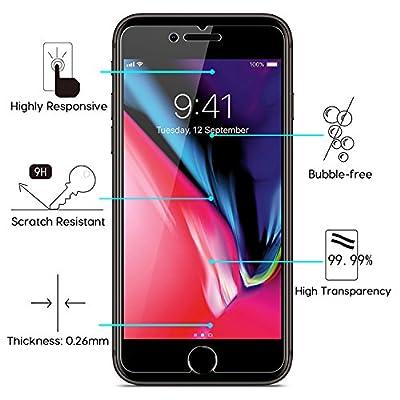 OMOTON [3 Stück] Panzerglas Schutzfolie für iPhone 8 Plus/iPhone 7 Plus, 9H Härte, Anti-Kratzer, Anti-Öl, Anti-Bläschen