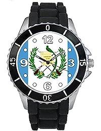 Guatemala Reloj unisex con correa de silicona negro