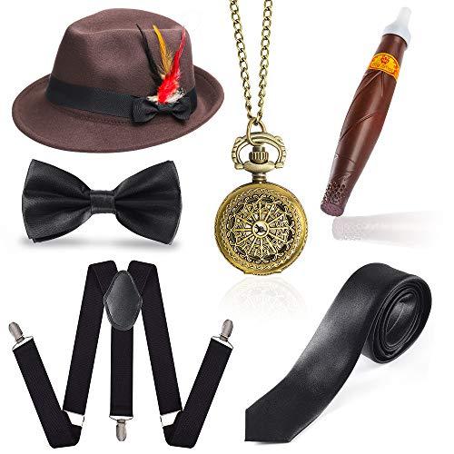 Beelittle 1920er Jahre Mens Gatsby Zubehör Set Trilby Manhattan Fedora Hut, Y-Rücken Hosenträger, Gangster Krawatten, Puff Zigarre, Vintage Taschenuhr (M) (Mann 1920er Jahre)