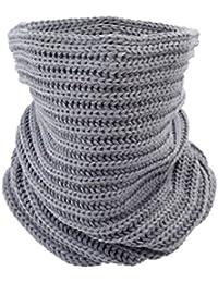 SODIAL(R) Manton de la bufanda gris senora de las mujeres de punto del circulo del cuello de la capucha del abrigo mas calido Loop Invierno