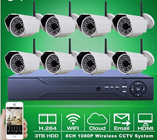 Preisvergleich Produktbild Gowe ONVIF 8CH H.264NVR Video CCTV Kit 3TB HDD 1080P COMS Sensor 25fps HD Outdoor IR WIFI Wireless Netzwerk Überwachung IP-Kamera