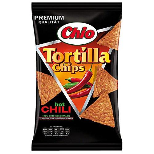 10 Tüten Chio Tortilla Chips Chili Chips hot Chilis a 125g