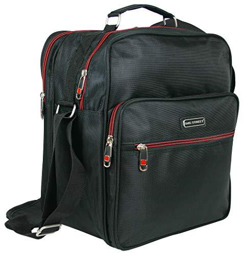 Bag Street Robuste Arbeitstasche | Handtasche für Männer | Flugbegleiter | hochformatige Herren-Schultertasche | Schwarz