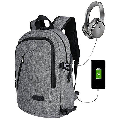 Rucksack Business-, lässig Diebstahlsicherung 15,6Zoll Stoff Oxford Wasserdicht + USB Ladeanschluss + Sicherheitsschloss Verriegelung für Reise und Business (grau)