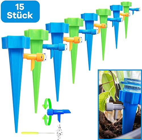 Netrox Wasserspender für Pflanzen | 15x automatisches Bewässerungssystem für Garten Pflanzen Blumen und Zimmerpflanzen Bewässerung | Automatische Gießkannne gießen