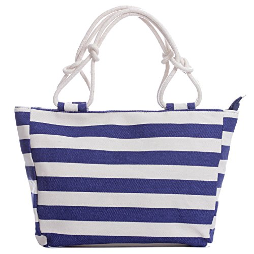 Stripe Holiday Canvas Tote Bag Shoulder Multicolour Navy White Black (large, navy off white thick stripe)