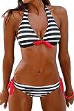 AMAGGIGO Damen Bikini Push Up Gepolstert Streifen Tupfen Triangel Brasilianische Bademode Bikini-Sets (X-Large, Schwarze Streifen)