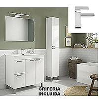 Hogar Decora Conjunto Mueble Baño Completo Oviedo, Mueble con Lavabo + Espejo + Grifería Incluida