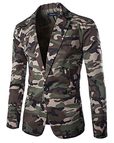 Giacca da uomo slim fit blazer di mimetica stampa elegante tailleur vestito esercito verde m