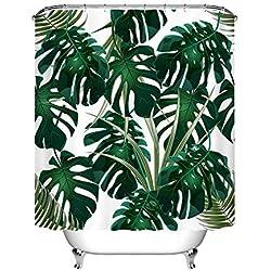 LB Duschvorhang für Badezimmer exotischen Tropischen Dschungel Waldgrün Blätter Monstera weiß Polyester Stoff Wasserdicht Anti-Schimmel 180x 180cm