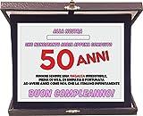 t-shirteria Targa Premio Compleanno 50 Anni Donna - Idea Regalo - in Alluminio e Velluto