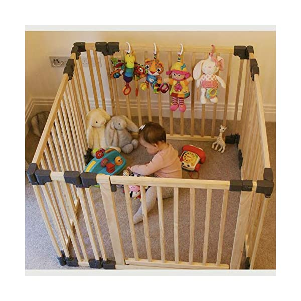 Safetots Play Pen Wooden All Sizes (Square) Safetots This configuration is complete with 1x 80cm gate panel, 3x 80cm panels and 4x 20cm panels. Made from premium grade wood designed to compliment all home interiors. Extra Wide Door Section for Easy Access, with simple slide and lift opening mechanism. 3