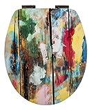 WC-Sitz High Gloss Dekor Farbkunst Toilettensitz WC-Brille aus Holz Soft-Close-Absenkautomatik Metall-Scharnier   Fast-Fix-Schnellbefestigung