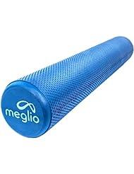 Meglio alta densidad rodillo de espuma–ideal para masaje de tejido profundo y miofascial.–Perfecto para fitness, ejercicio, Yoga, Pilates, entrenamiento de base y el gimnasio, azul, 45 cm