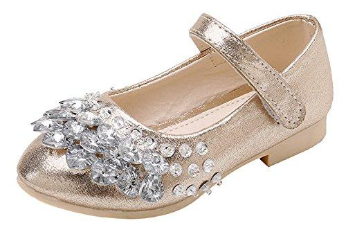 La vogue-bambina scarpe pelle pu con starss ragazza principessa sandali cerimonia lunghezza interne 21.5cm champagne