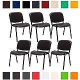 CLP 6X Konferenzstuhl Ken mit Stoffbezug oder Kunstlederbezug I 6 x Stapelstuhl mit robustem Metallgestell I In verschiedenen Farben erhältlich Kunstlederbezug: Braun