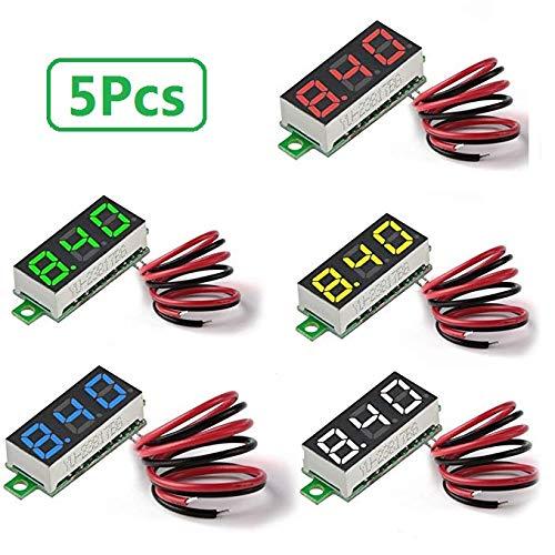 Mini Digital voltímetro de tres líneas DC 0-100V Mini Digital voltímetro Medidor Tester LED de Pantalla Protección contra polarización inversa y medición exacta de la Impresión 0,28pulgadas