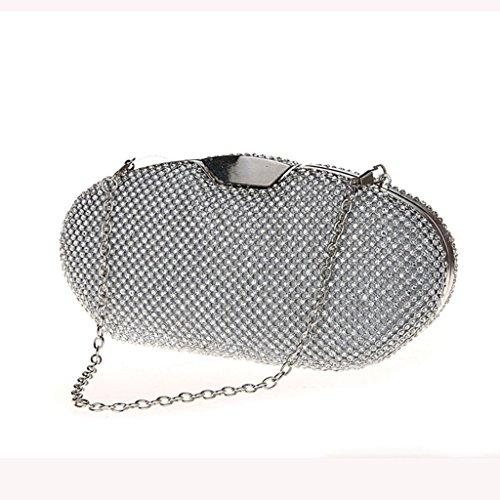 La borsa nuova frizione abiti da damigella borsa da sera di diamante della moda sposa banchetto a doppia faccia ( Colore : Nero ) Silver